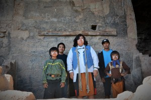 Dancers with the Kennedy Johnson San Carlos Group pose in the Lower Cliff Dwelling.